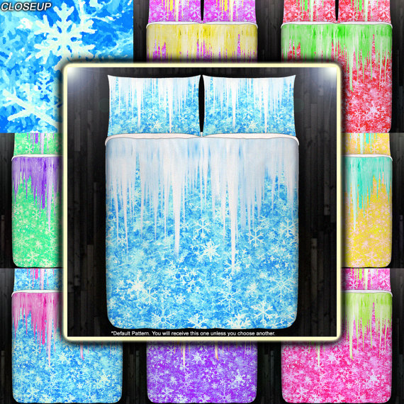 Winter Frozen Icicles Snowflake Duvet Cover Bedding By