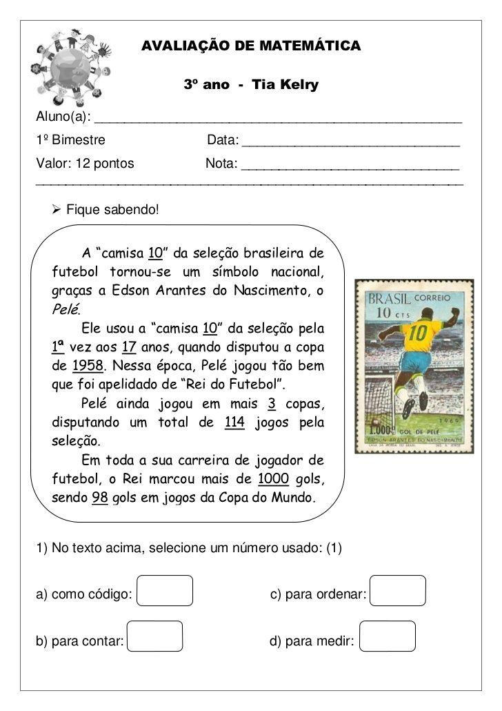 AVALIAÇÃO DE MATEMÁTICA 3º ano - Tia KelryAluno(a