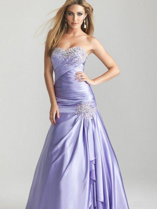 Charming Sleeveless Sweetheart Sweep/Brush Train Satin Beading Dresses
