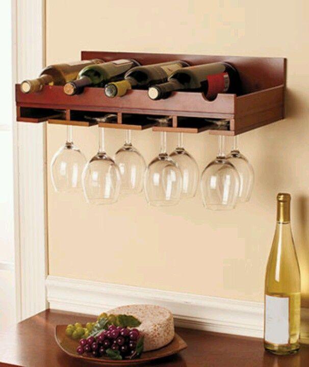 Wood Wine Bottle Glass Storage Wall Mount Rack Black Walnut Bar Home Decor Vino