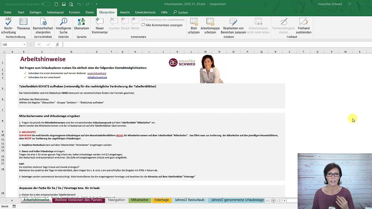 Excel Urlaubsplaner Kostenlose Vorlage Zum Download Anuschka Schwed Excel Vorlage Urlaub Planen Planer