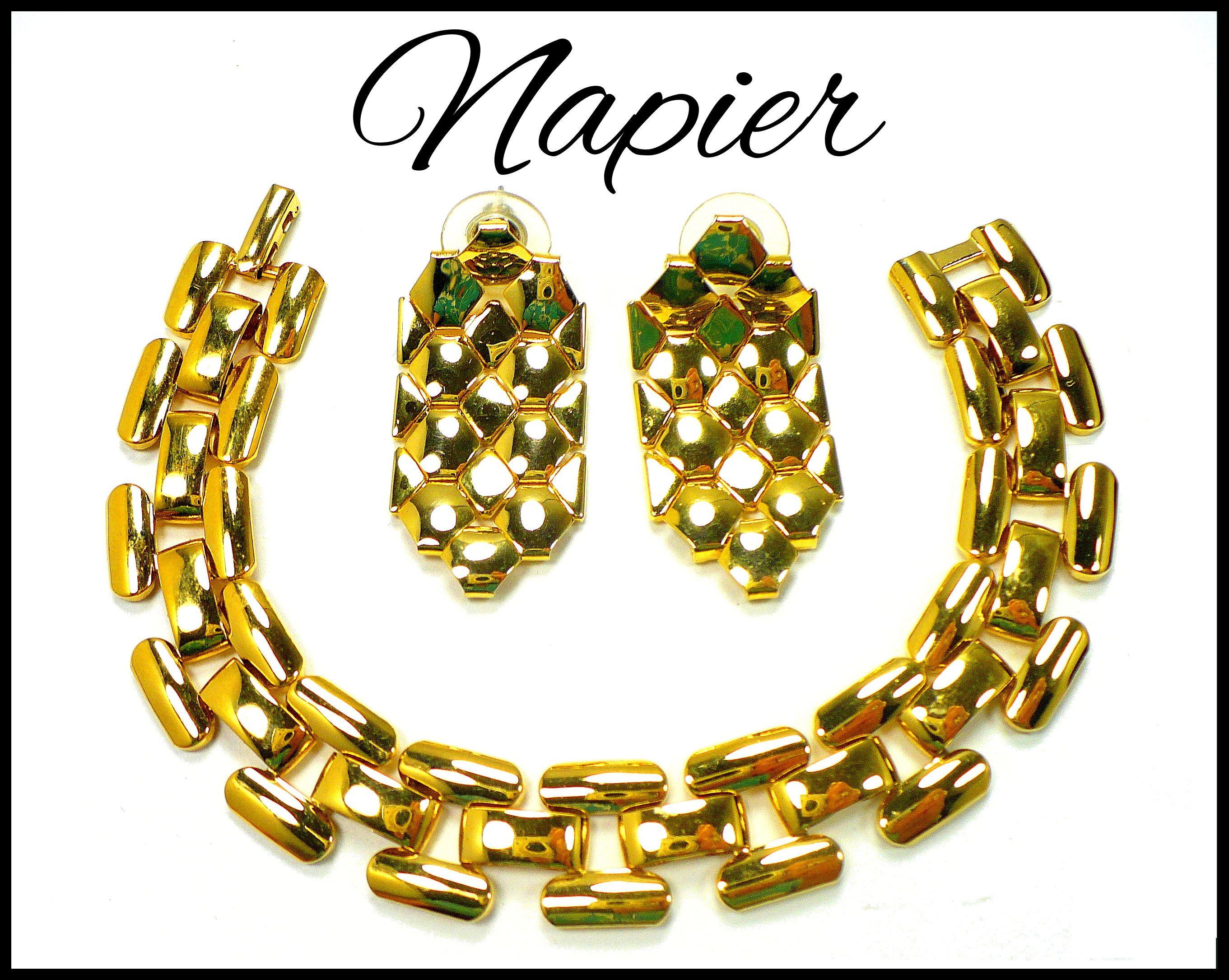 Napier gold bracelet u earrings set patent pending wide chain