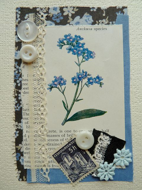 handmade cards with buttons lace fabric and floral print