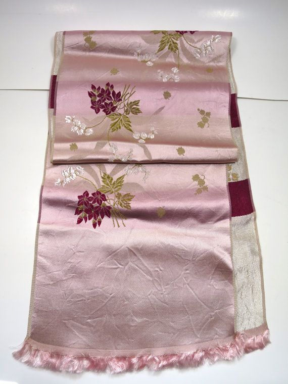 Pink Flowered Opera Scarf Long Neck Scarf Jacquard Woven Floral Spray 1940's Rose Burgundy Green 8 x 46 inches  Pale Pink Background
