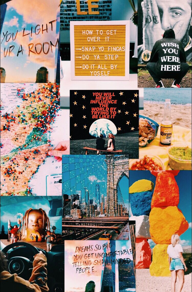 Vsco vibes yellow blue collage aesthetic astroworld city