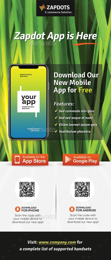 Mobile App Promotion Roll-up Banners Vol.02 #Affiliate #Promotion, #affiliate, #...