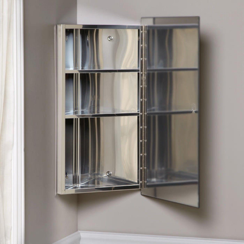 Carrington Stainless Steel Corner Medicine Cabinet Bathroom Corner Medicine Cabinet Bathroom Bathroom Cabinets Designs
