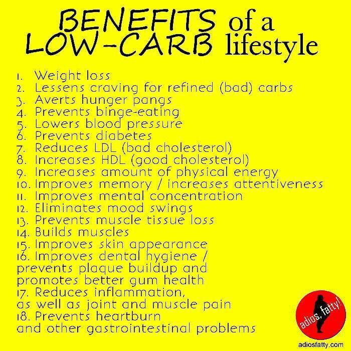 low carb diets bennefits