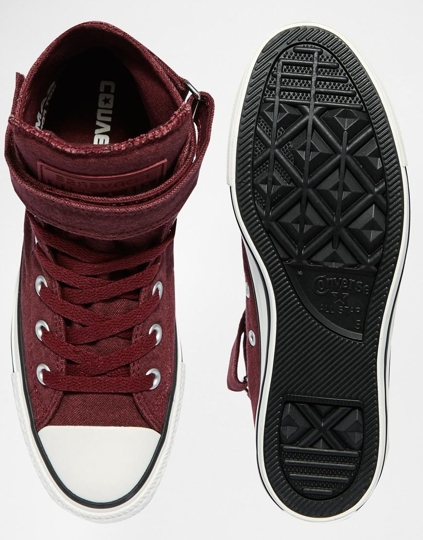 1560e0a8e282 Image 3 of Converse Burgundy Canvas Chuck Taylor All Star High Top Trainers  http
