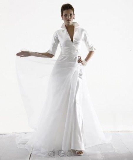 Vestiti Eleganti Manica Tre Quarti.Vestito Da Sposa Con Maniche A Tre Quarti Abiti Da Sposa