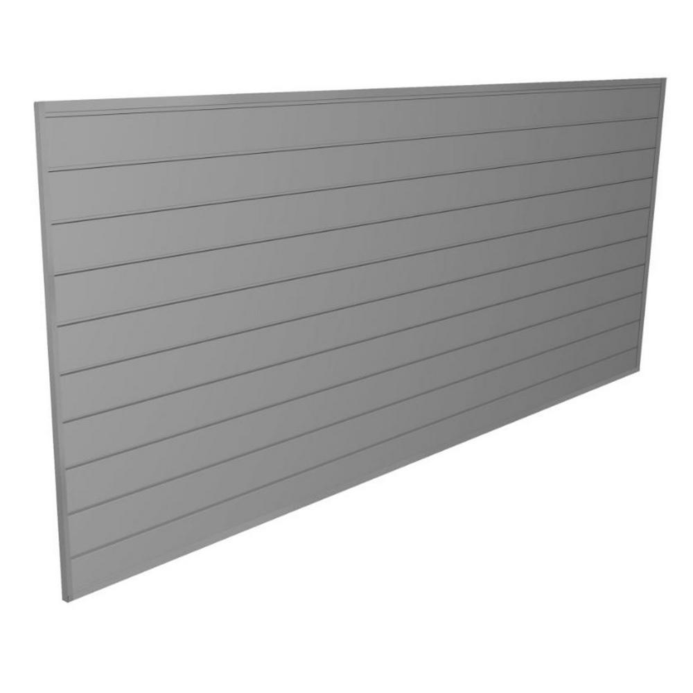 Proslat Pvc Slatwall 8 Ft X 4 Ft Light Gray 88107 The Home Depot Slat Wall Light Grey Walls Wall Paneling