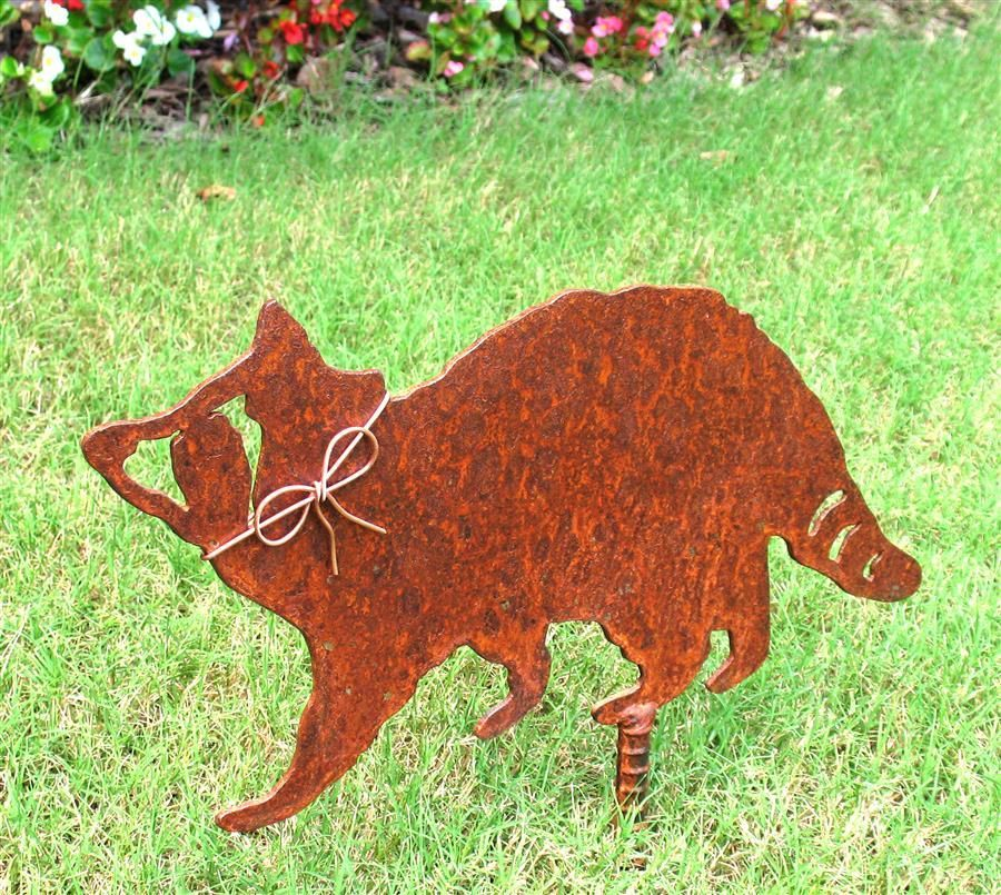 Raccoon Metal Garden Stake