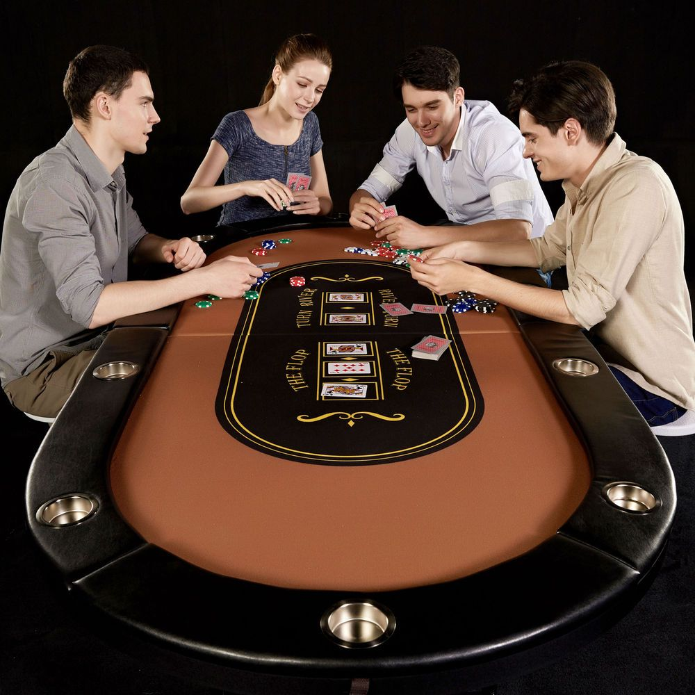 10 Player Poker Table Folding Texas Hold Em Blackjack Casino Cup Metal Legs Poker Table Pc Gaming Setup Play Table