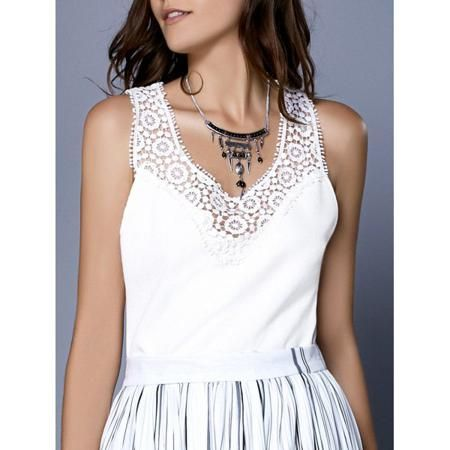 Fashionable Women's Scoop Neck Ribbed Lace Tank Top