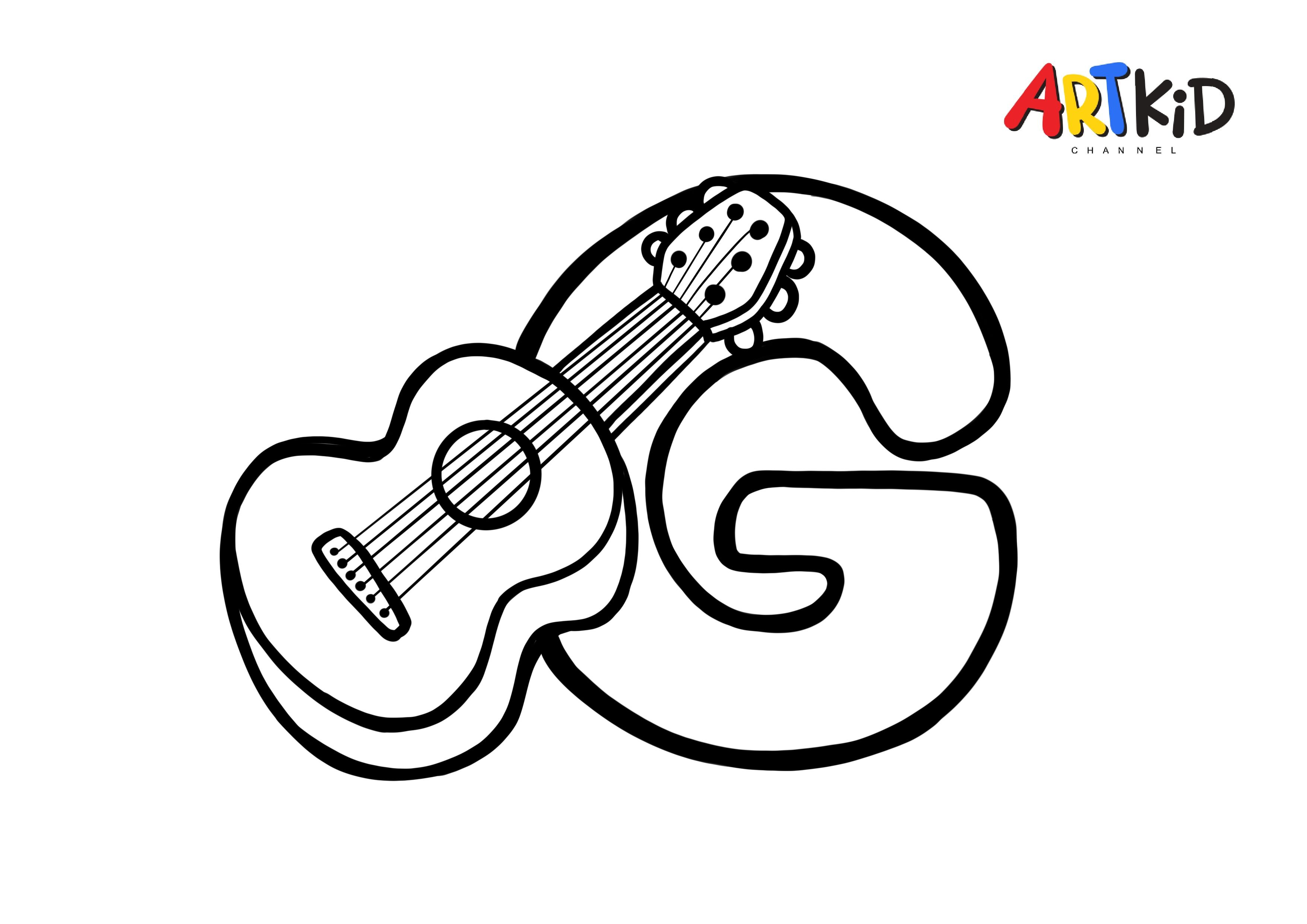 G Letter Guitar Alphabet Free Printable Coloring Pages