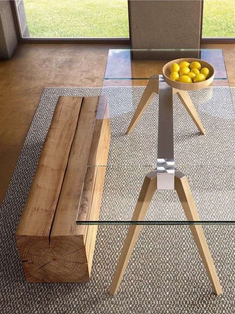 extending rectangular wood and glass