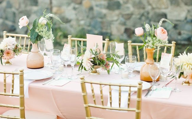Gorgeous dusty pink, cream, peach, gold & mint green color palette ...
