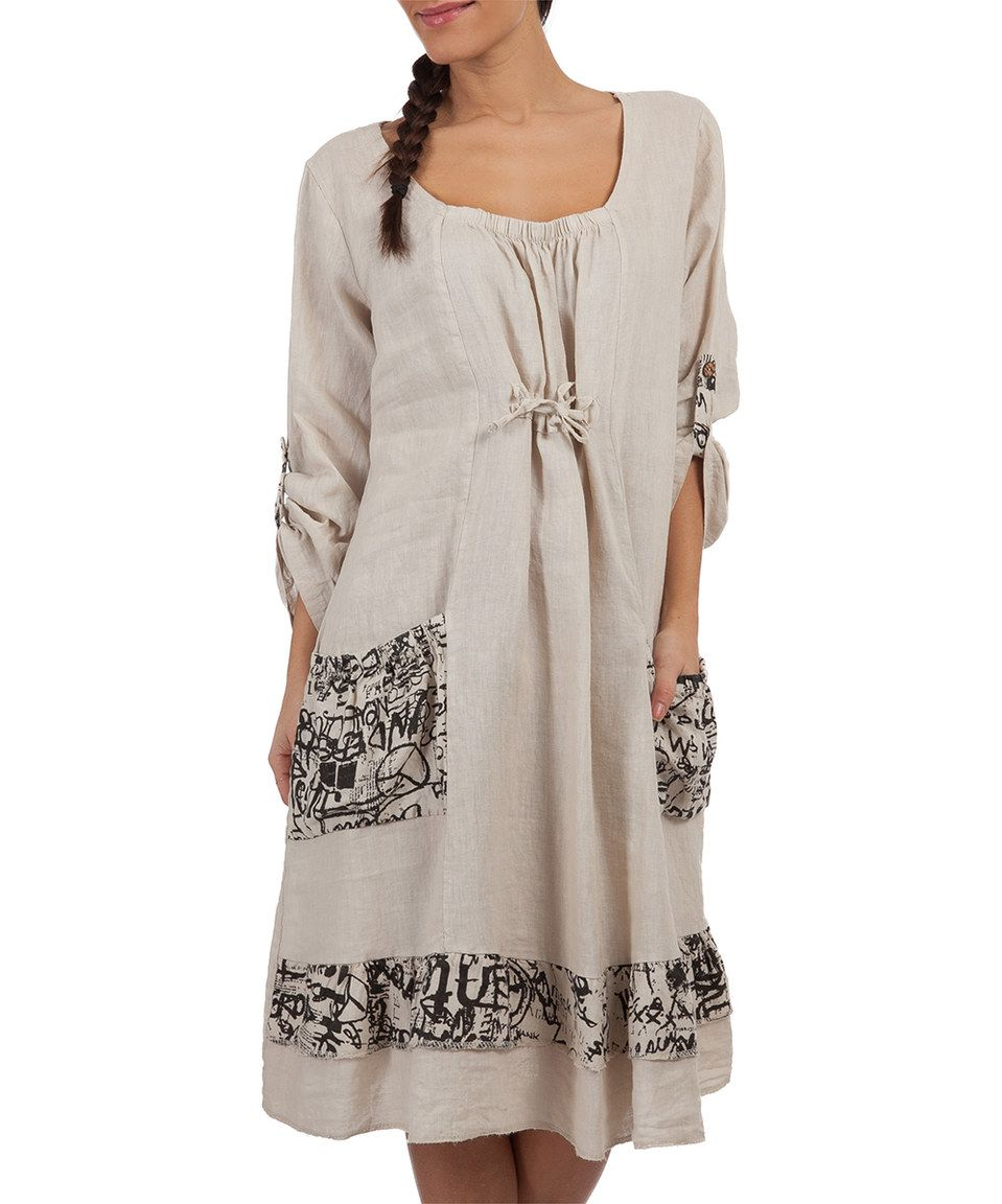 Look what I found on #zulily! Beige Tango Linen Dress - Plus Too by LIN nature #zulilyfinds