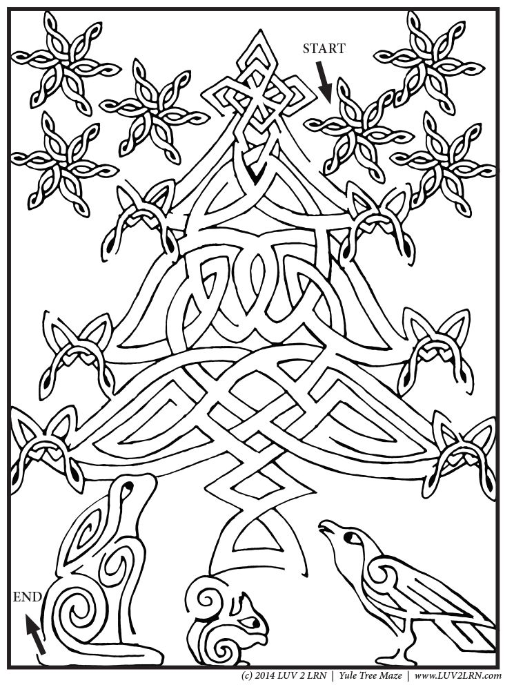 Living ESYR | FREE Printable: Solstice Tree Maze | Please Like √ Share√ Comment √ Tag √ Pin it √ and Print it  √