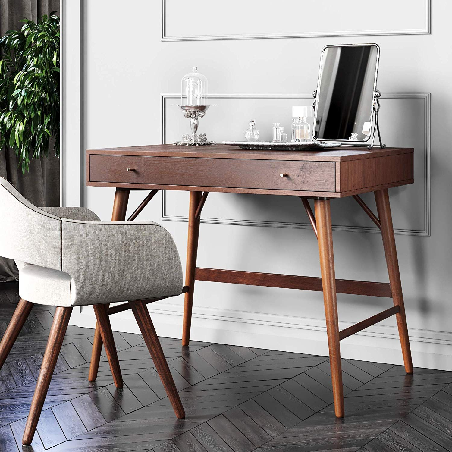 Bonny Wood Desk Mid Century Modern For Home Office Small Writing Station In 2020 Solid Wood Desk Mid Century Desk Home Office Furniture