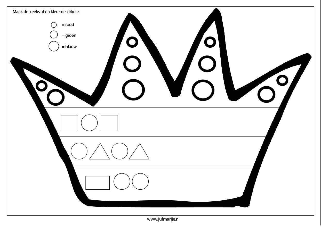 werkblad maak de kroon af koningsdag kleuters