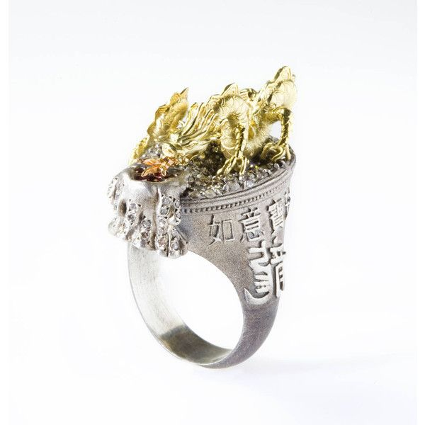 Stambolian Dragon Diamond Silver Gold Ring ($4,340) ❤ liked on Polyvore featuring jewelry, rings, 18 karat gold ring, gold silver ring, silver rings, yellow gold rings and silver snake ring