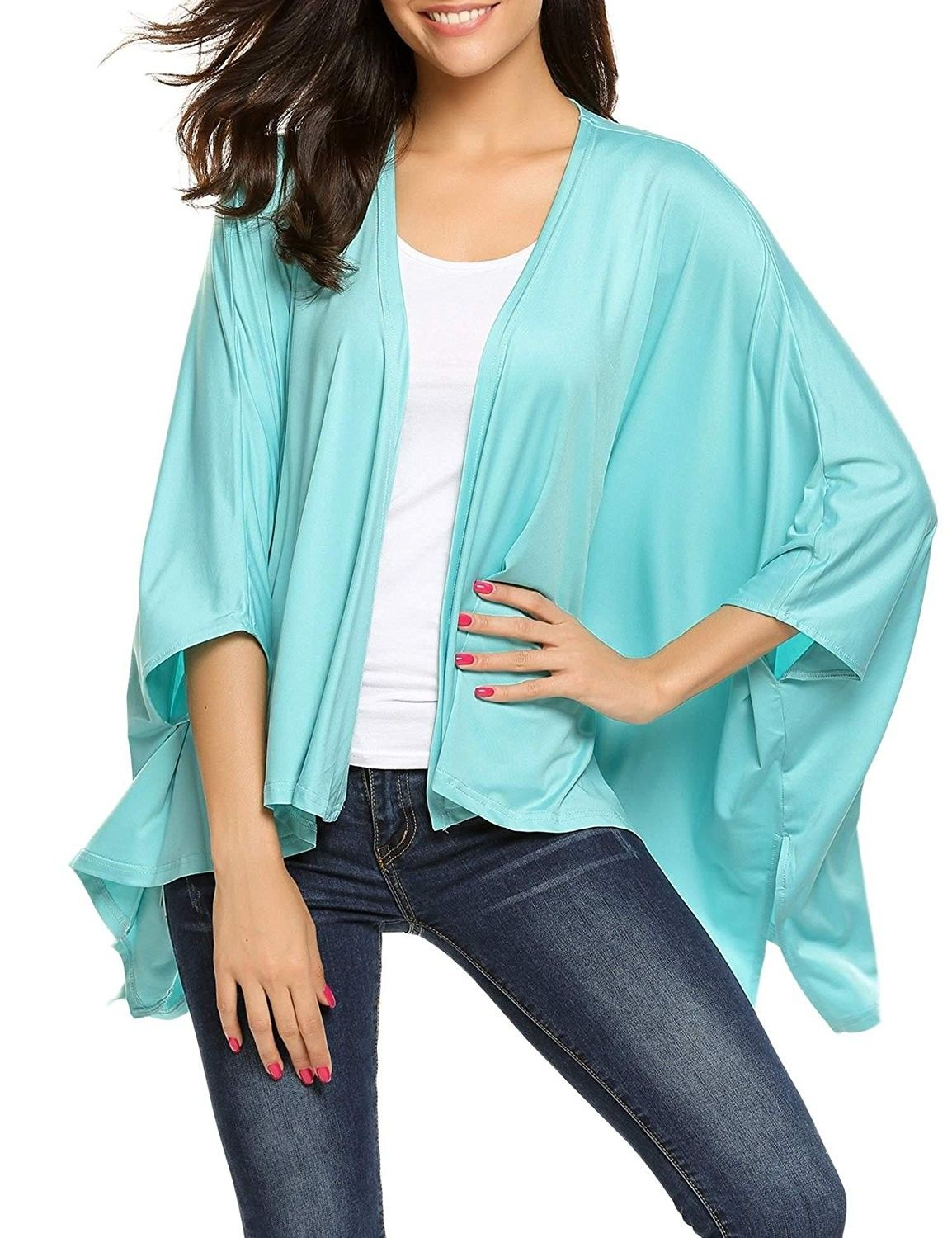 d0122a65ded Womens Loose Draped Open Front Kimono Cardigan Bathing Sleeve Casual ...