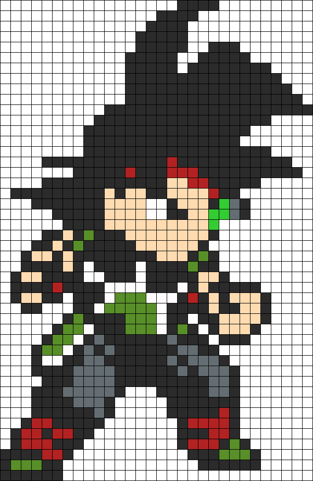 Bardock Dragon Ball Perler Bead Pattern Anime Pixel Art