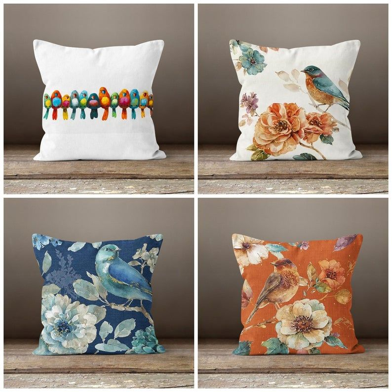 Floral Bird Pillow Casebird And Flower Pillow Etsy In 2020 Floral Cushions Floral Pillow Cover Floral Pillows