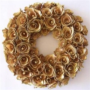 indoor fall decorating cottage  | Gold Wood Rose Wreath Small | Nest