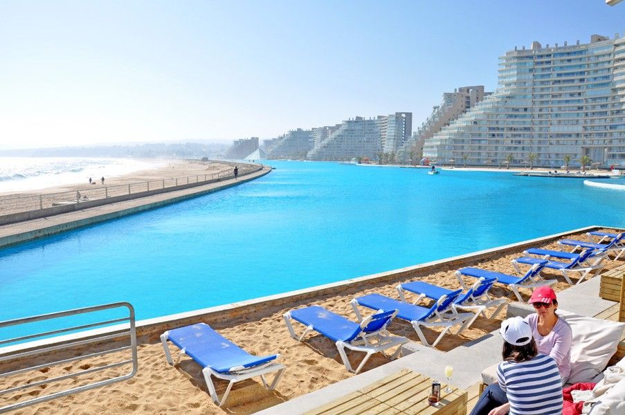 world s largest pool the crystal lagoon chile wows guests at san