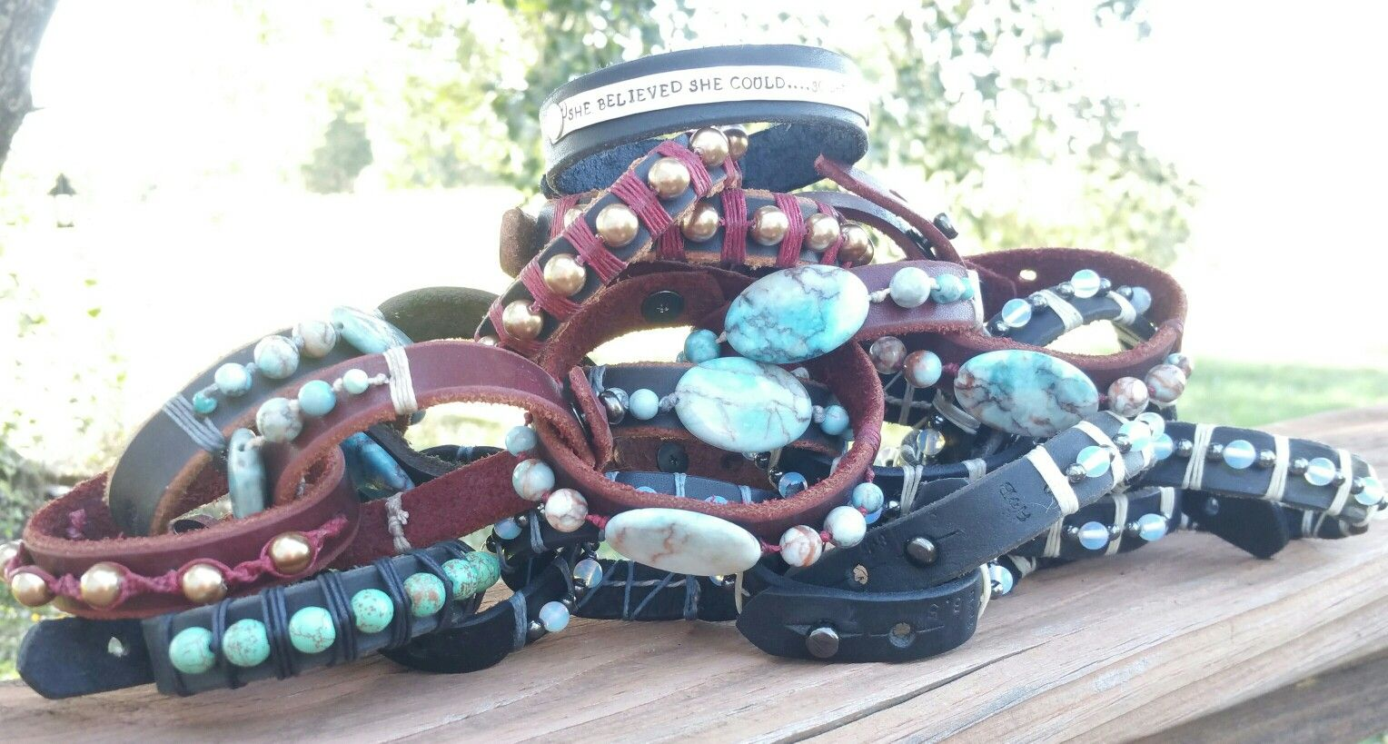 Leather bracelets with various stones and pearls,  some with sterling silver quotes, ready for hippie tipi barn sale and gypsy moon market!