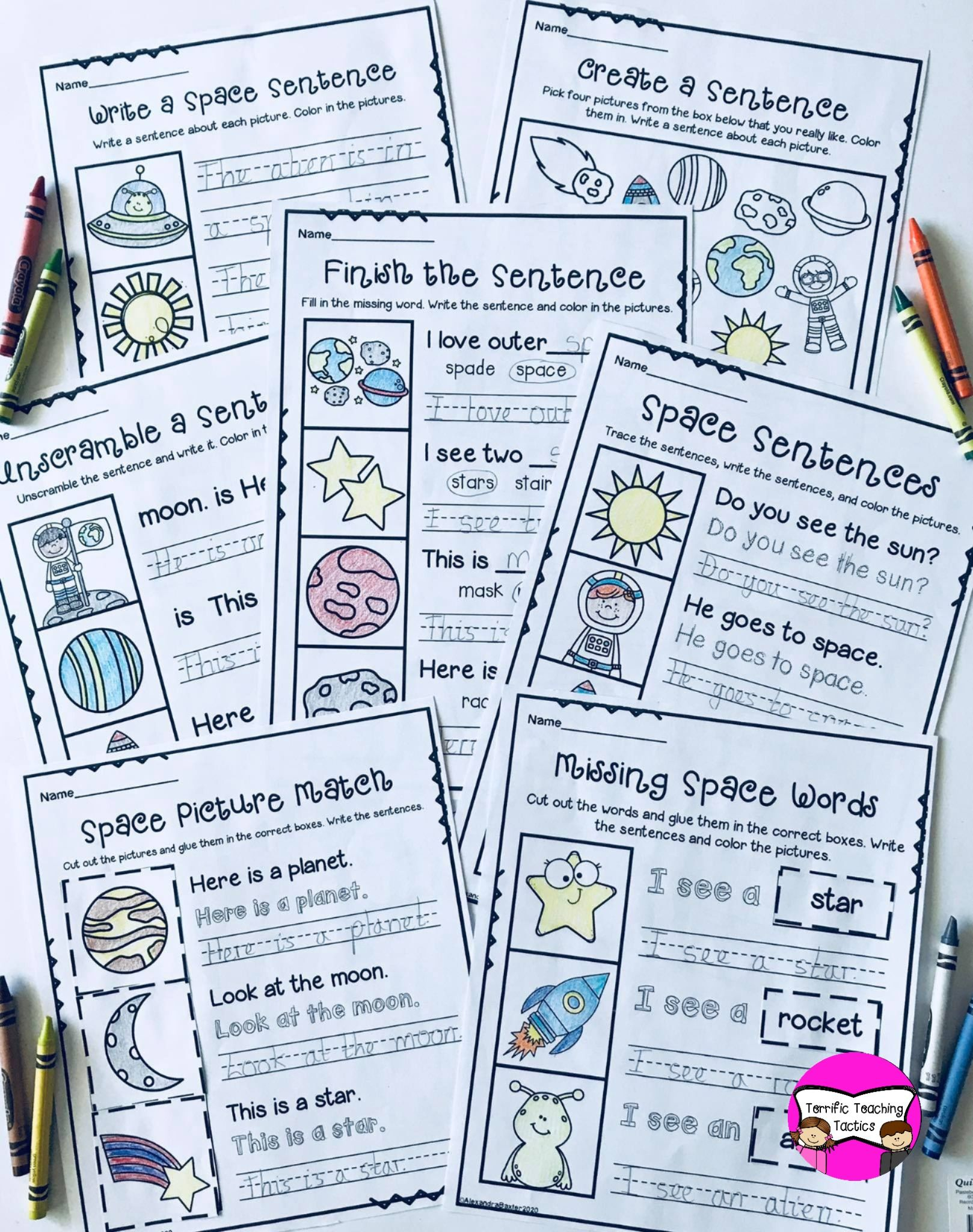 Space Sentence Writing Worksheets Distance Learning
