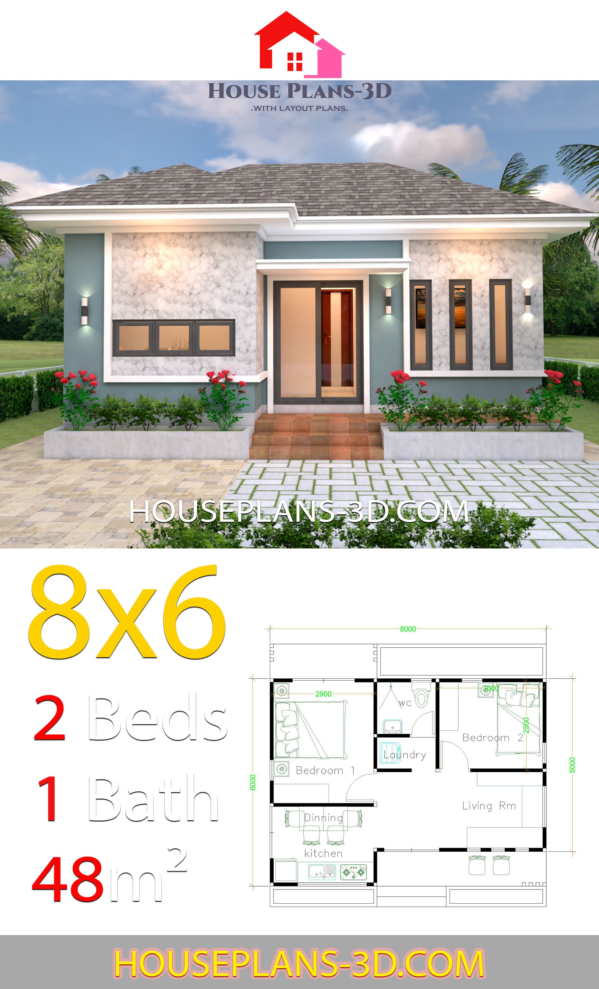 House Plans 3d 8x6 With 2 Bedrooms Hip Roof House Plans 3d House Plans Dream House Plans Affordable House Plans