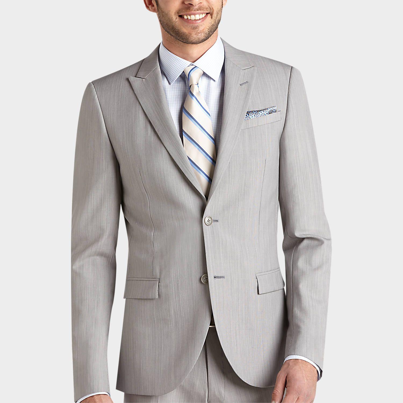 Egara Light Gray Extreme Slim Fit Suit Slim Fit Men's