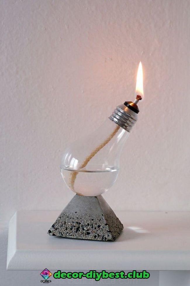 Diy Decoracion Hecha De Bombillas De Luz 120 Ideas De Manualidades Para Los Focos Viejos Tienes Muchos Bulbos De Fo Handmade Home Oil Lamps Diy Decor