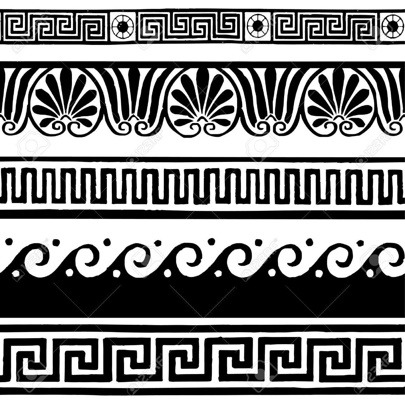 34329437 Greek Style Seamless Borders Hand Drawing Stock Vector Greek Ancient Frieze Jpg 1 300 1 294 Pixels Pattern Tattoo Greek Pattern Tribal Pattern Tattoos