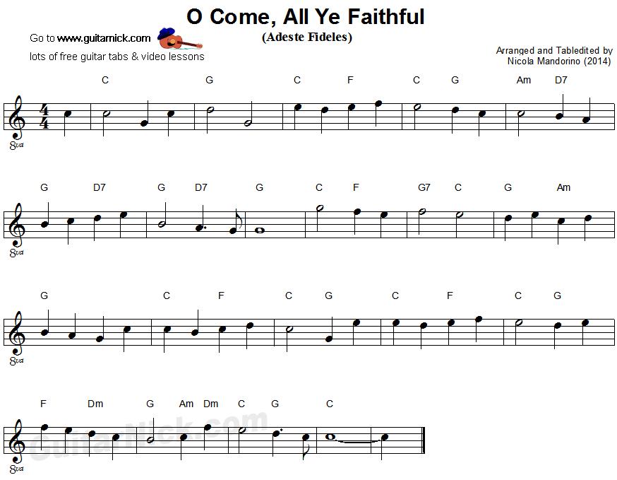O Come, All Ye Faithful - easy guitar sheet music | Bài học guitar ...