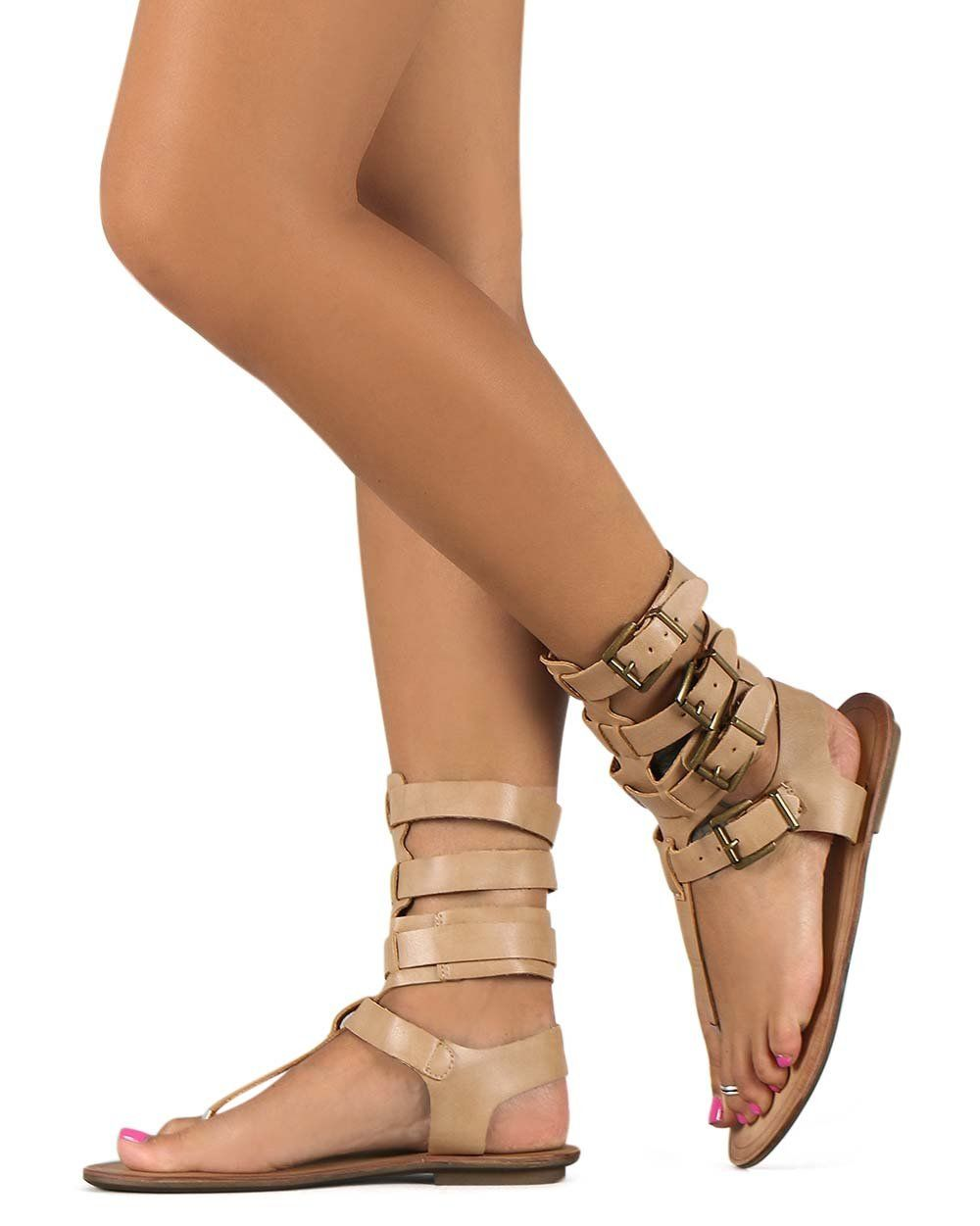 c039e22508a9 Liliana DB52 Women Leatherette Strappy T-Strap Gladiator Thong Sandal -  Nude (Size  6.5). Measurement (tested sz 6  approx.)  Heel 0.25