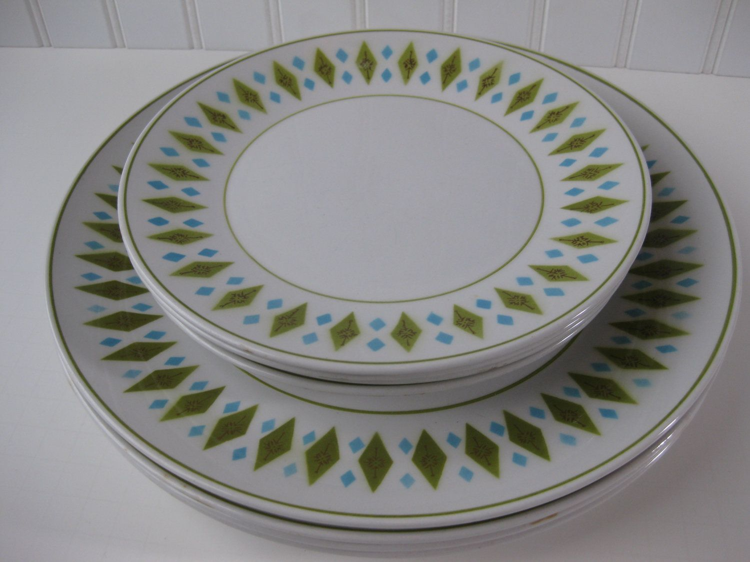 vintage mikasa gem lime green and aqua dinner plates set of four