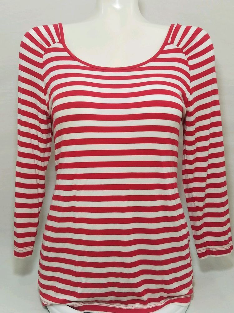 f1bfe8012d Cable and Gauge Womens Blouse M top 3/4 Sleeve Crew Neck Striped Red White  (A) #CableGauge #Blouse #Casual