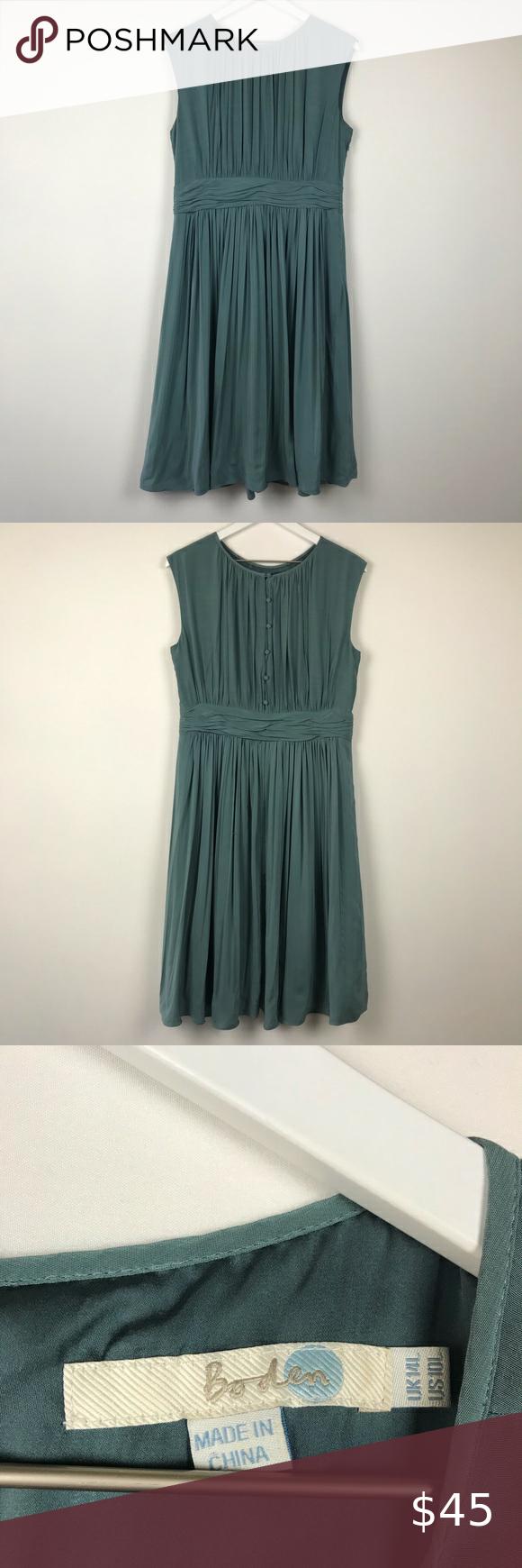 Boden Selina Pleated Slate Blue Sleeveless Dress