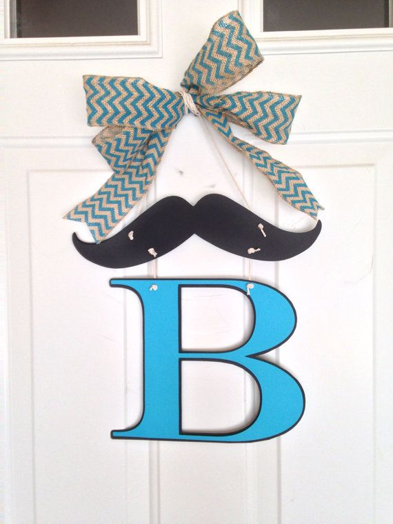 Mustache Baby Shower Personalized Door Hanger on Etsy, $20 ...