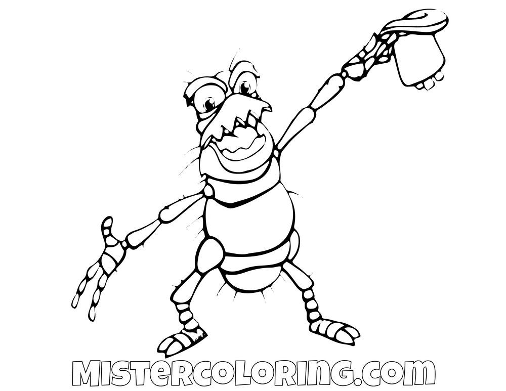 Pt Flea A Bugs Life Coloring Page Coloring Pages Drawing