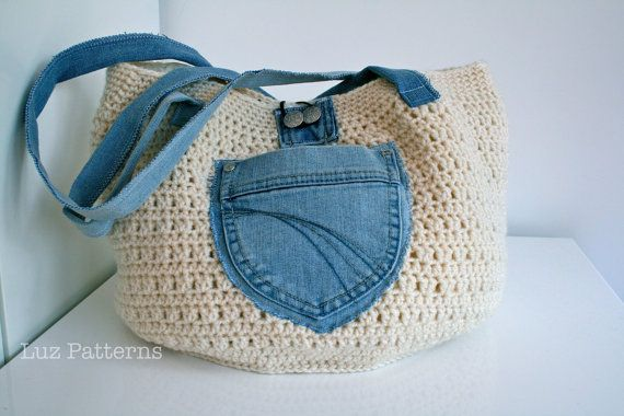 Crochet bag pattern crochet and up cycled jeans bag by LuzPatterns