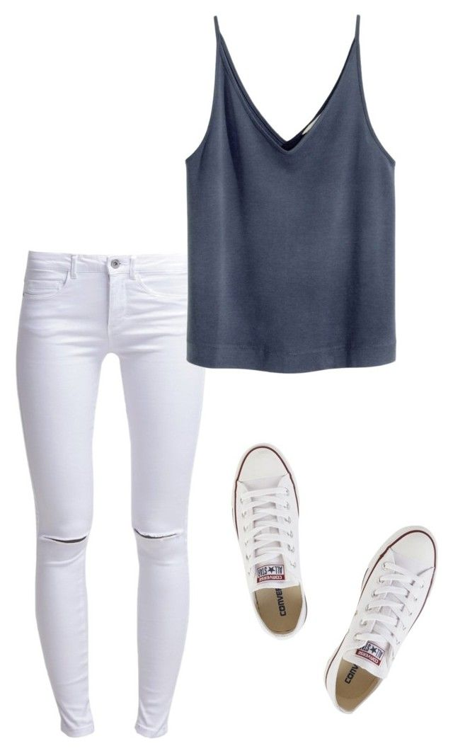 """""""Blue on blue"""" by truedirectioner-belieber ❤ liked on Polyvore featuring ONLY and Converse"""