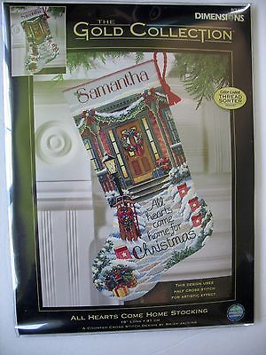 Dimensions GOLD All Hearts Come Home Christmas Stocking Cross Stitch Kit NEW