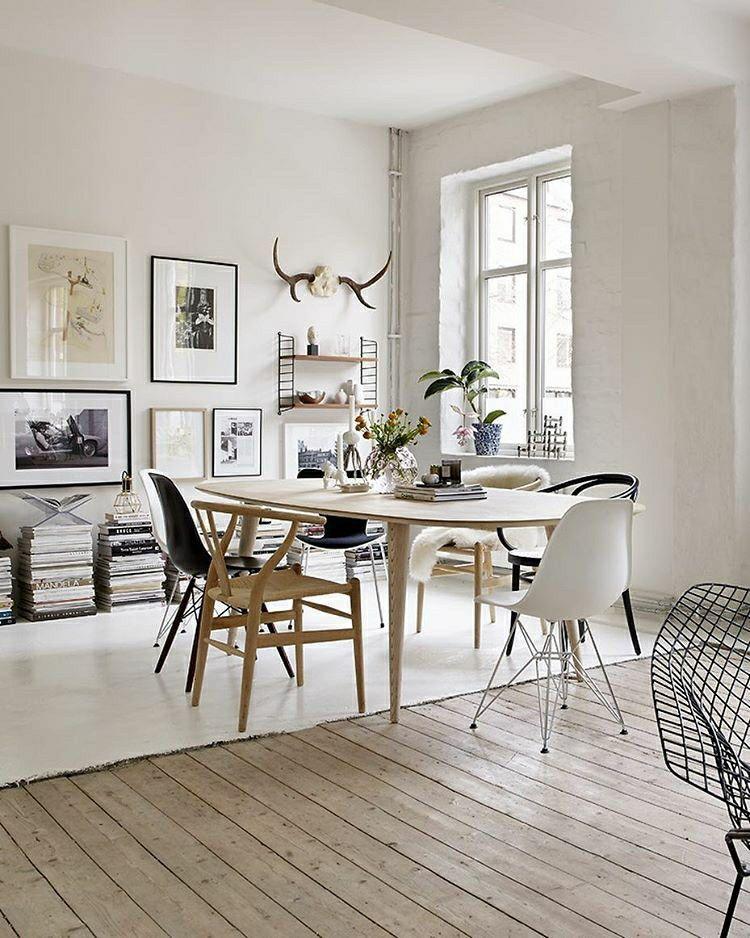 Mix de sol dans la salle à manger, entre parquet blanchi et sol - Salle A Manger Parquet