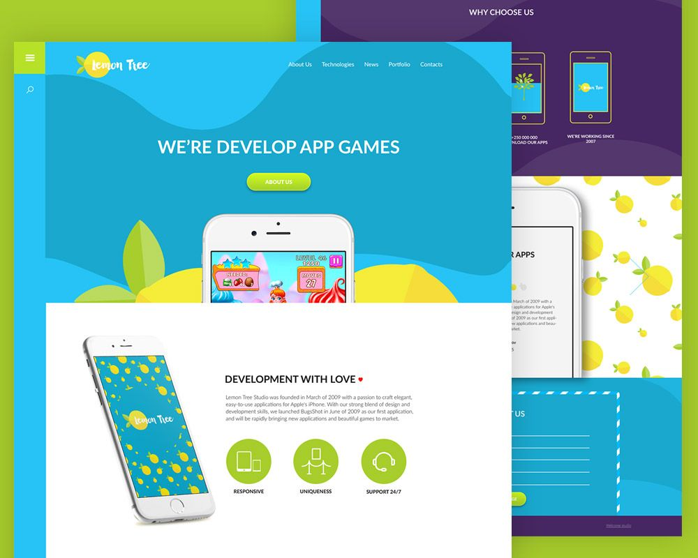 Cool Colorful App Website Template Free Psd Download Colorful App