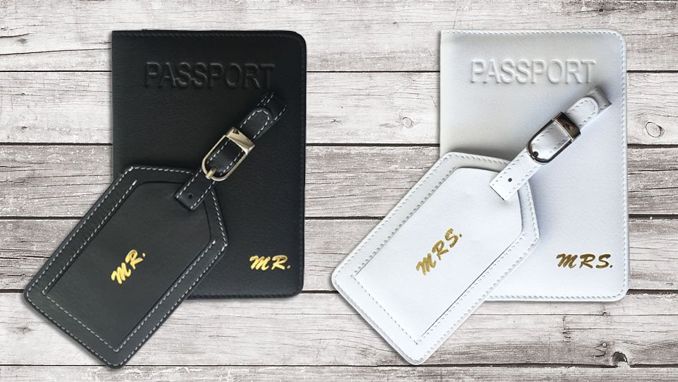 9d63340a6d59 Mr and Mrs Passport Cover and Luggage Tag Set of 2 | Matching ...